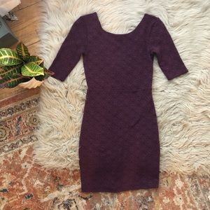 Free People Maroon Textured Bodycon Dress